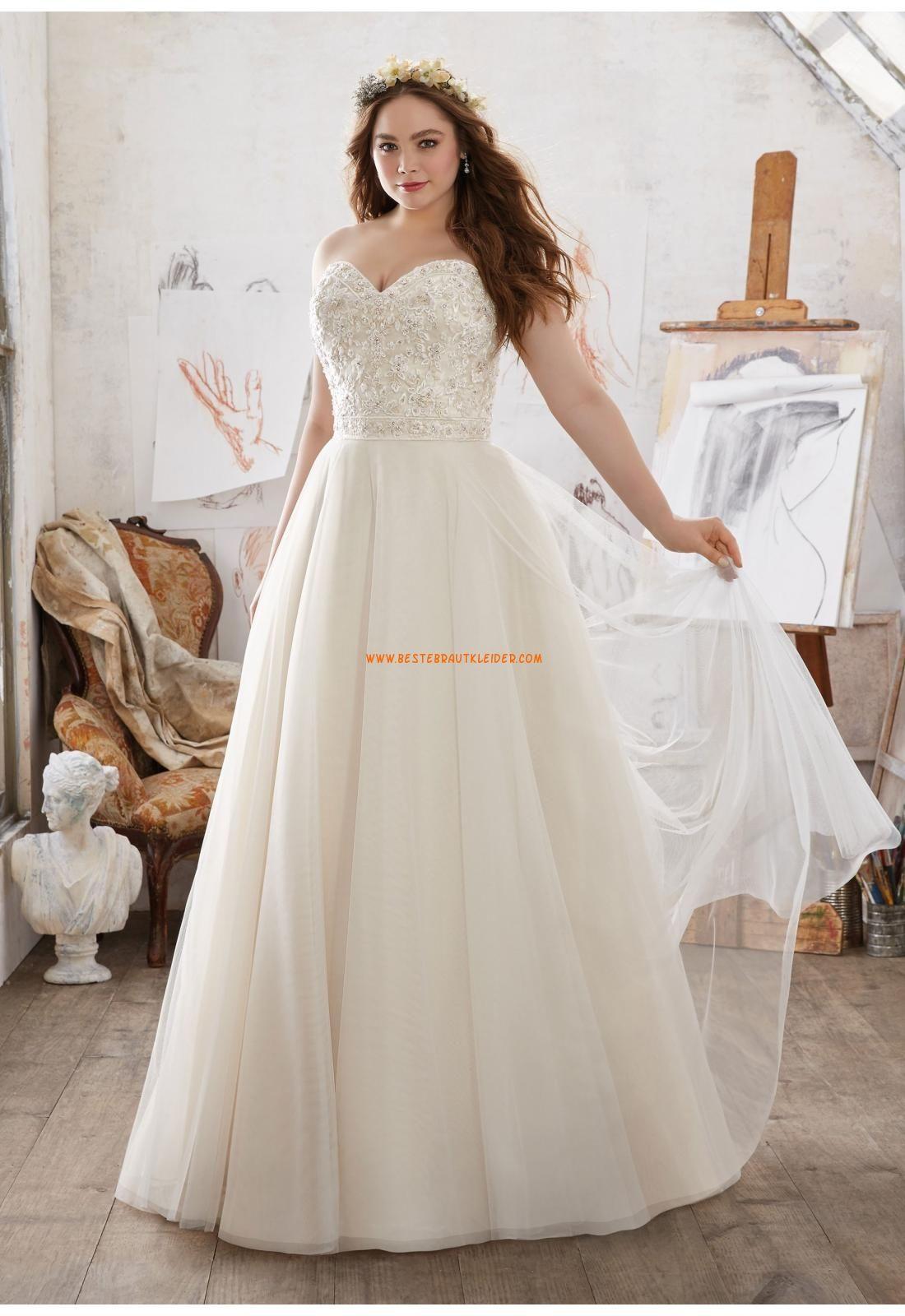 A-linie Herz-ausschnitt Trendige Brautkleider aus Tüll mit Schleppe ...