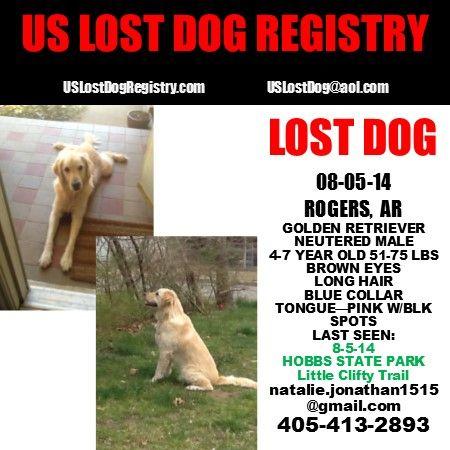 Lostdog 8 5 14 Rogers Ar Hobbsstatepark Goldenretriever