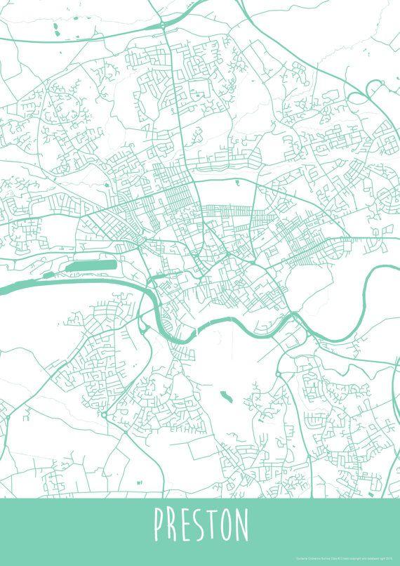 Preston England Map.Preston City England Art Map Roads Print Your By Illastudio Map