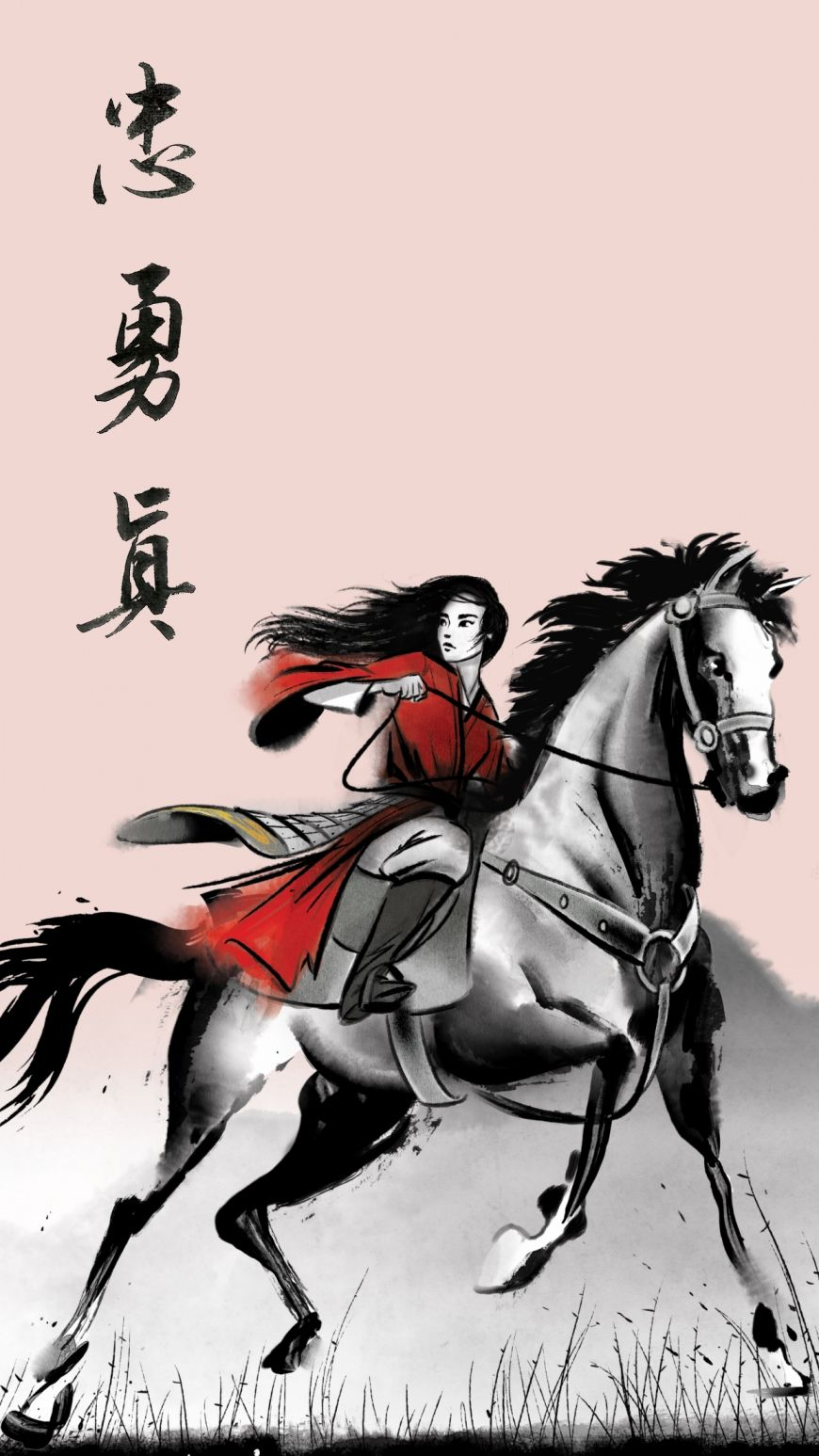 Mulan Movie live action 2020 new wallpapers in watercolor style