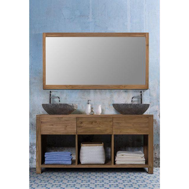 Ensemble de salle de bain en teck - meuble de salle de bain teck 145 - meuble salle de bain pierre naturelle