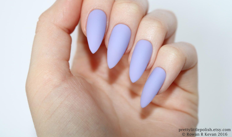 Stiletto nails, Matte lilac stiletto nails, Fake nails, Press on ...