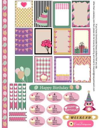 image regarding Happy Planner Stickers Printable identify Absolutely free Birthday Sampler Sticker Package for Satisfied Planner