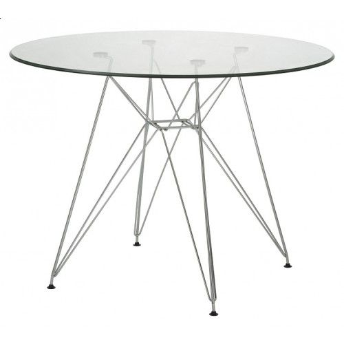 Replica Charles Eames Round 100cm Glass Dining Table Glass