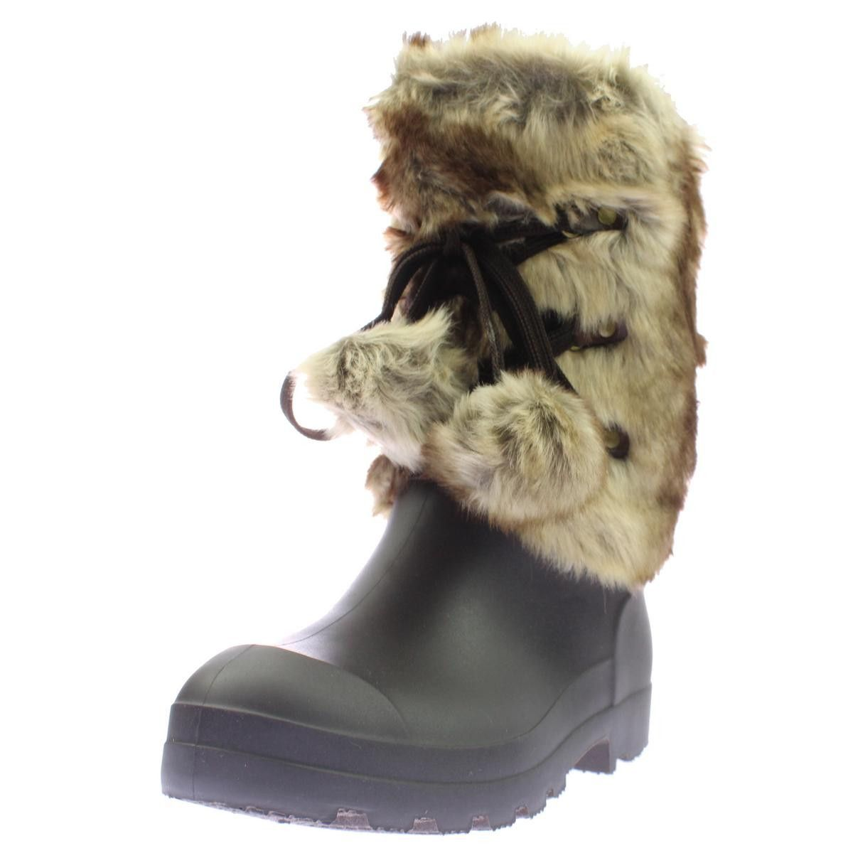 Dirty Laundry Womens Picca Faux Fur Mini Wedge Rain Boots