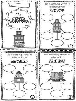"""My School Adjectives"" Booklets (Introduction or Review"