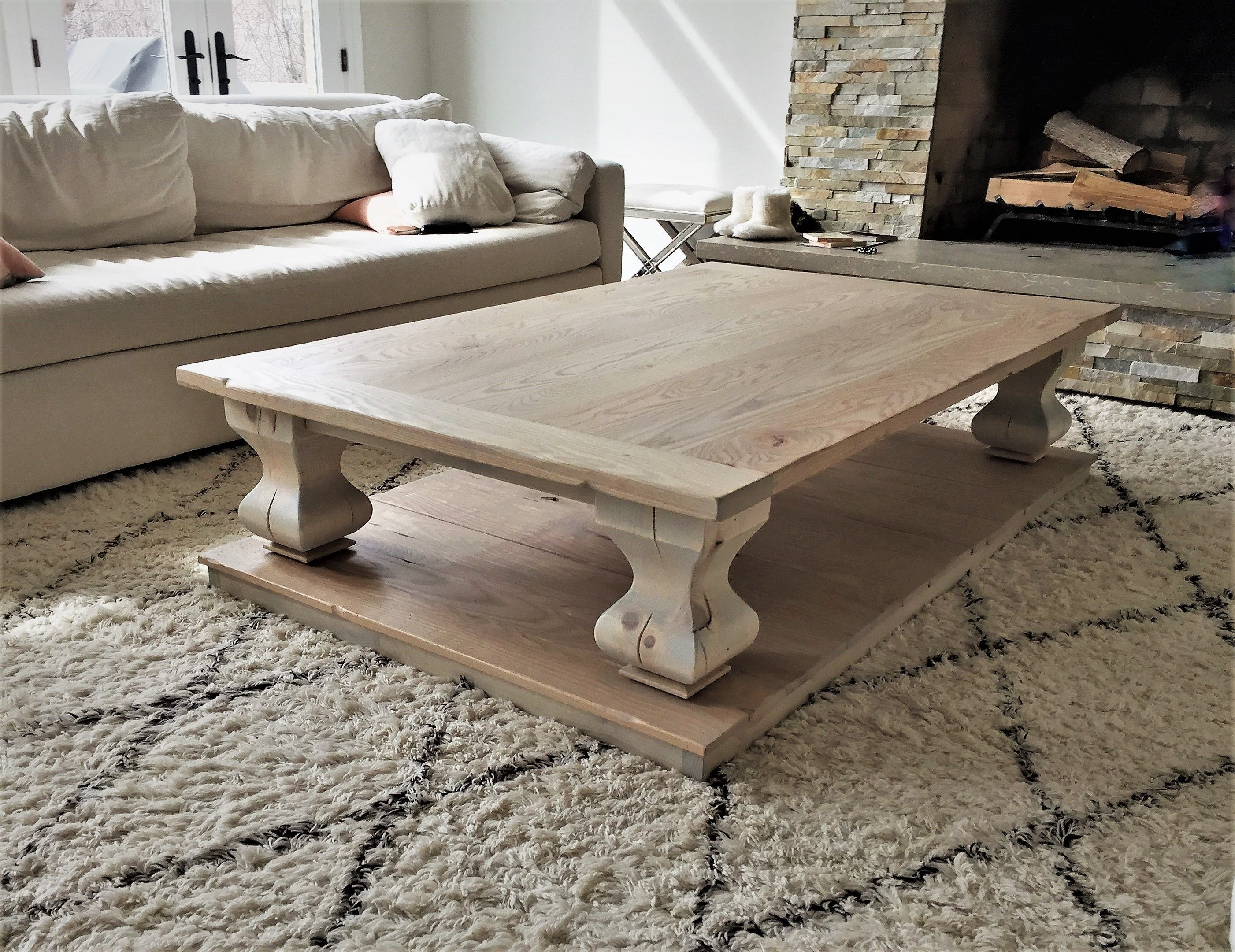 Whitewash Coffee Table With Belly Pedestal And Breadboards Coffee Table Rustic Square Coffee Table Furniture [ 2161 x 2803 Pixel ]