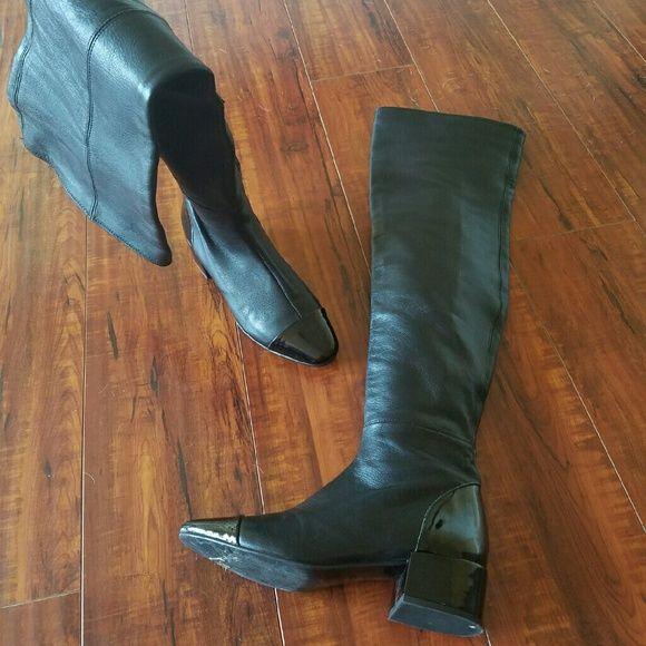 ZARA Cap Toe Thigh High Black Leather