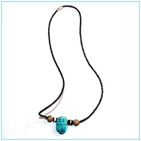 collar escarabajo egipcio turquesa