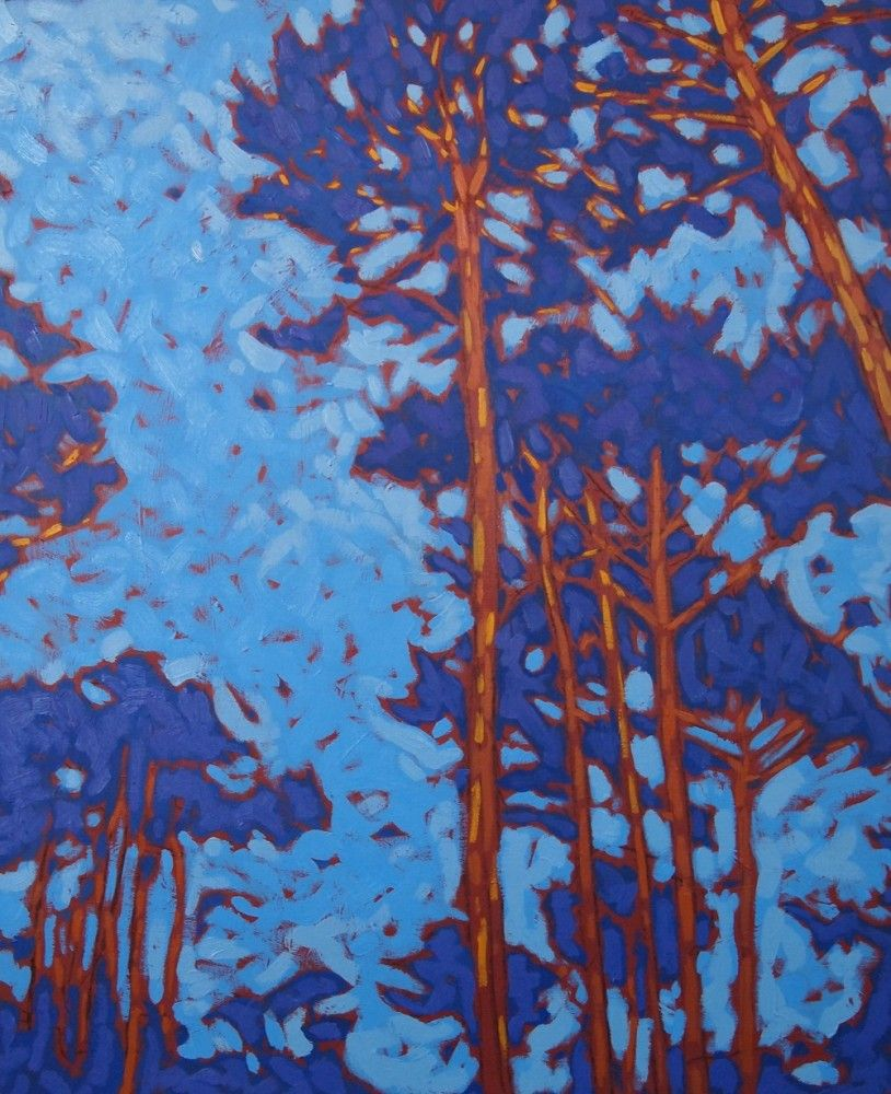 Pins bleus 3, Huile sur toile Peinture arbre, Peinture