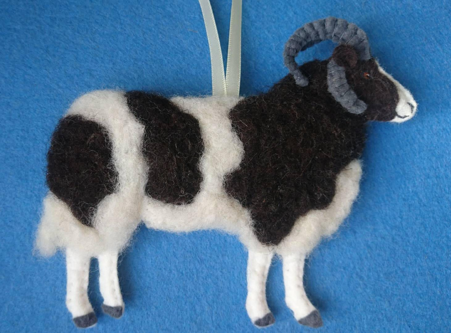 Needlefelted Jacob sheep hanging ornament with hand