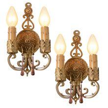 Pair Of Beautiful Colonial Revival Double Sconces, C1925 | Rejuvenation #vintage #antique #salvage #lighting