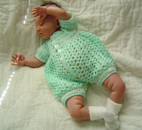 0005 Baby Boy Pattern Newborn to 03 Months Crochet Romper by ...
