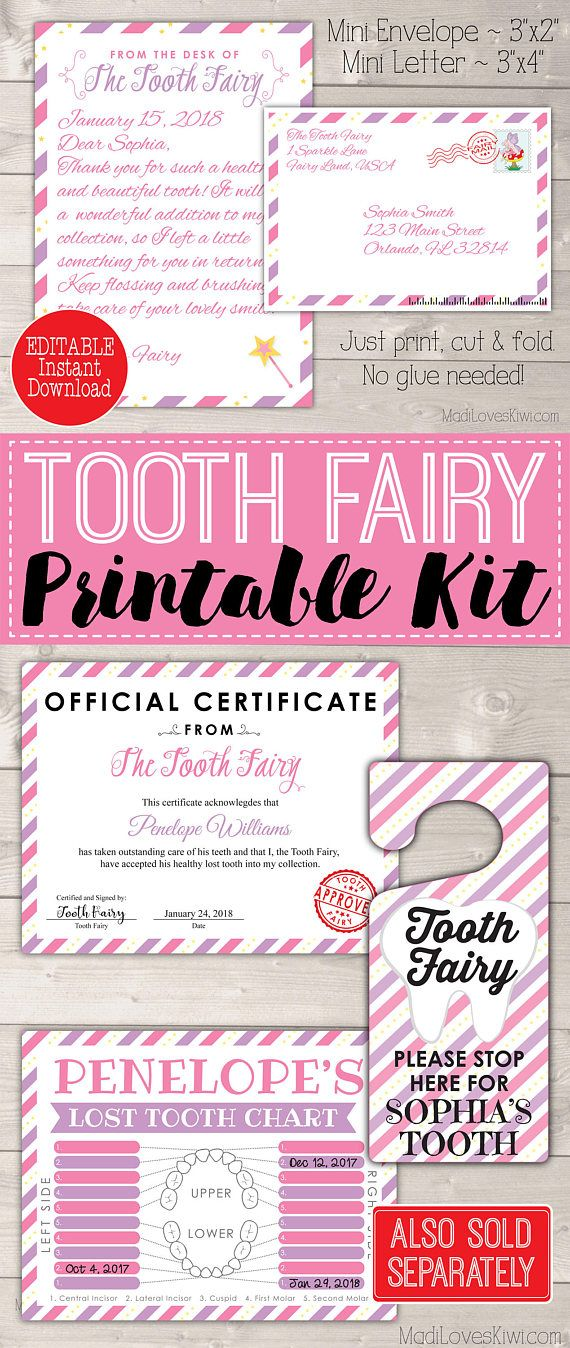 Letter from Tooth Fairy, Letters Kit, Teeth Tracker PDF, Printable Door Hanger, Lost Chart Girl Gift Note Set First Digital Instant Download
