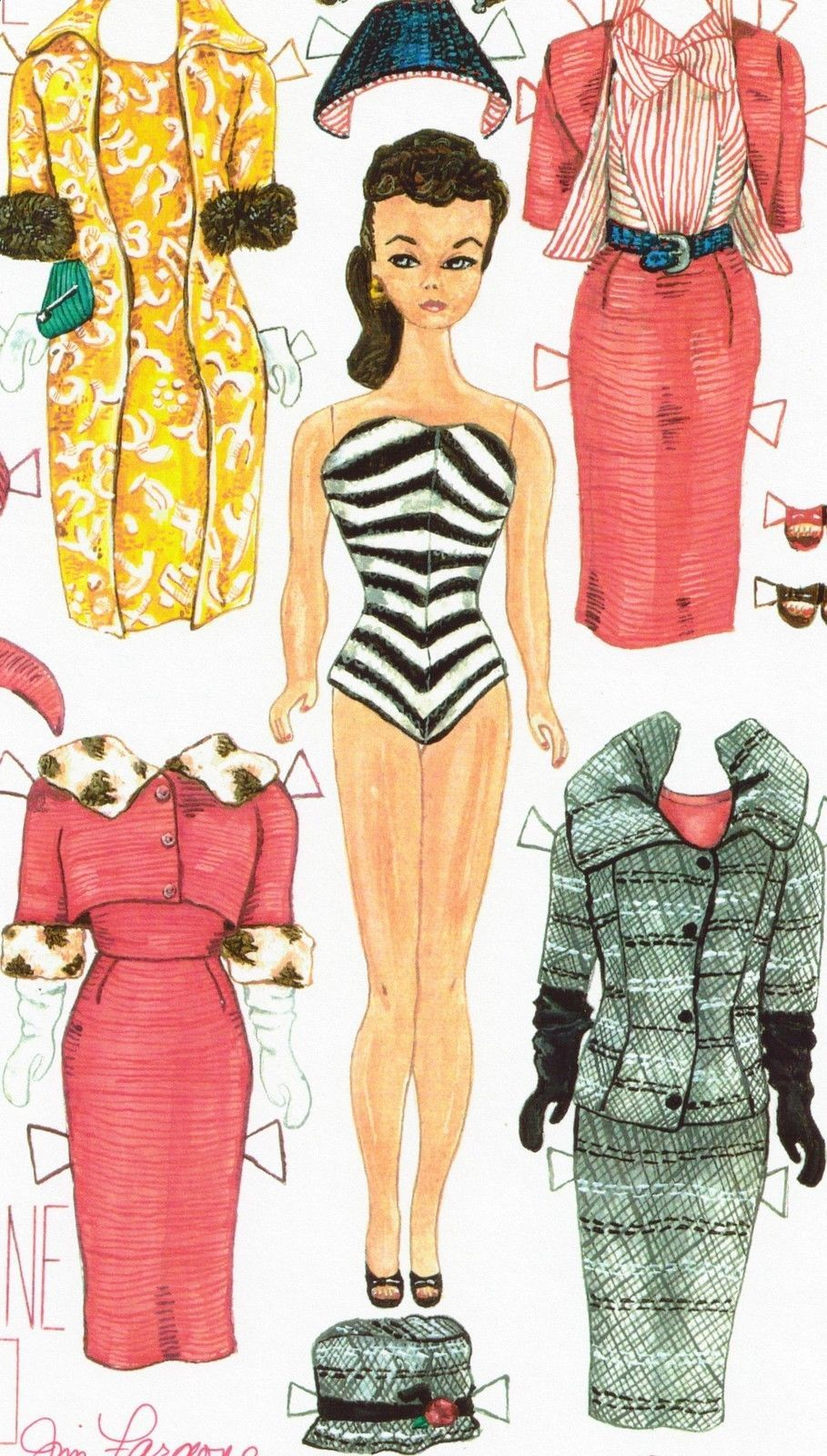 picture about Printable Barbie Paper Dolls referred to as Barbie paper doll artwork through Jim Faraone 15 of 50 signed 1959