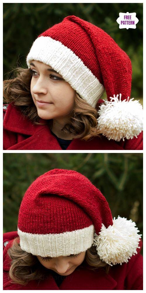 Knit Christmas Santa Hat Free Knitting Patterns #knittingpatternsfree