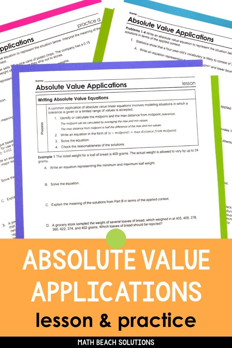 Absolute Value Equations Applications Lesson Word Problem Worksheets Word Problems Algebra Lesson Plans