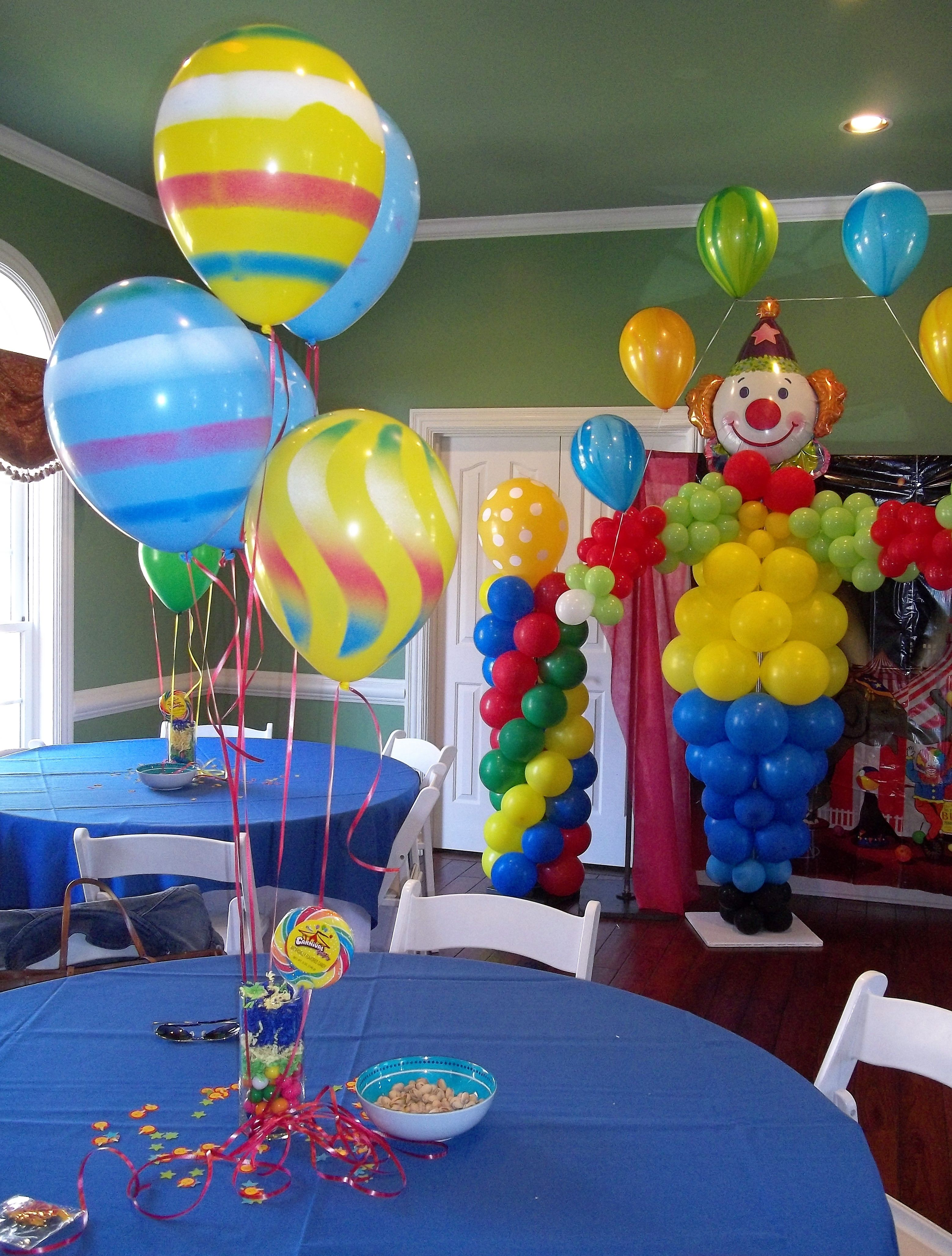 Fun carnival or circus theme centerpiece and the guests
