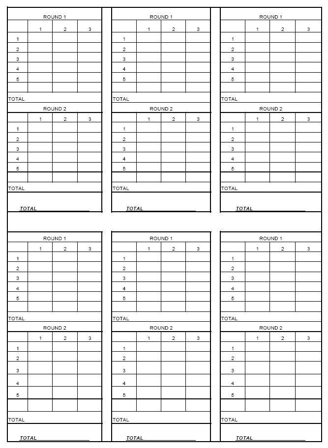 Nasp Archery Score Sheet Printable  Thread Score Sheet For