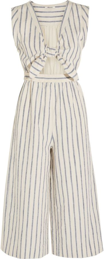 98f354991006 Madewell Tie-Front Cutout Linen and Cotton-Blend Jumpsuit