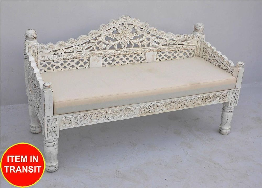 French Indian Carved Daybed Mattress Balinese Day Bed