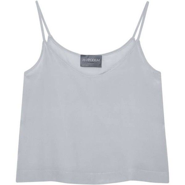 ae3e82f3db34e1 Antipodium Silver Silk Crop Cami ( 125) ❤ liked on Polyvore featuring tops