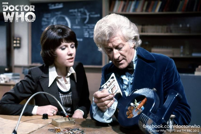 The 3rd Doctor (Jon Pertwee) and Sarah Jane Smith (Elisabeth Sladen) - INVASION OF THE DINOSAURS (1974)