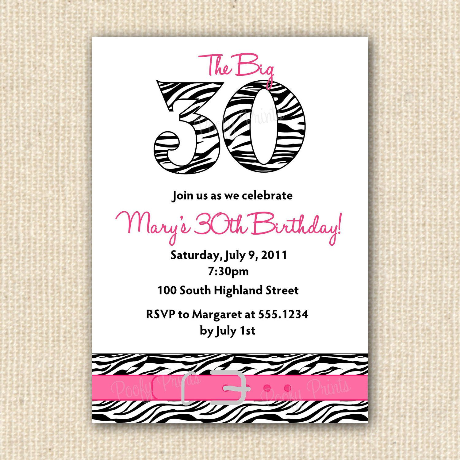 Zebra Print 30th Birthday Party Invitations DIY by PoofyPrints
