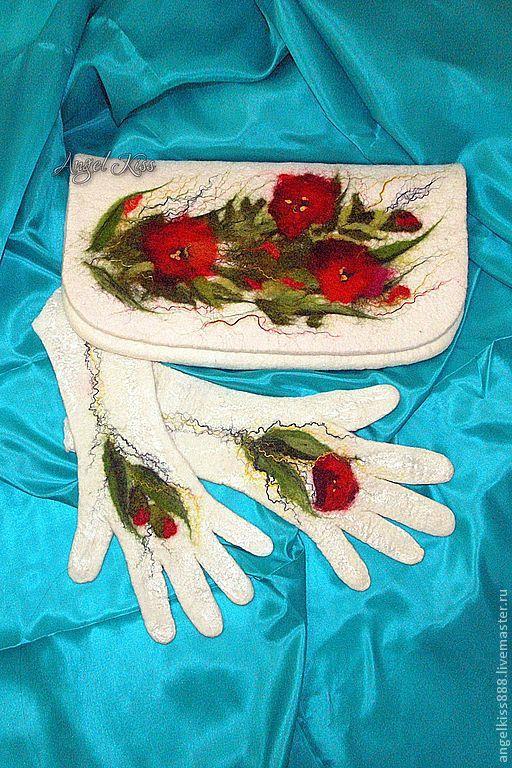 Купить Сумка - клатч - белый, рисунок, сумка, Валяние, ручная работа, шерсть меринос