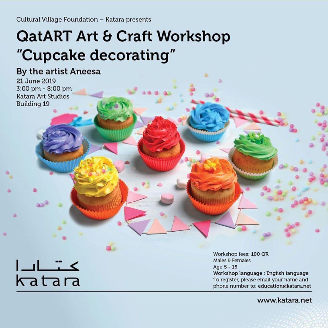 Q A T A R T Repost Qatartcommunity Cupcake Decorating 21 June 3 8pm Register Qatartcommunity Ema Cupcakes Decoration Crafts Workshop Mixed Media Canvas