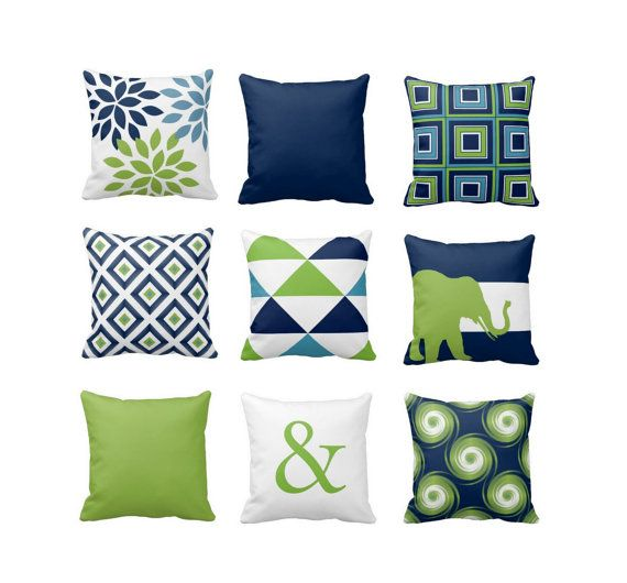 Throw Pillow Navy Blue Green White Light Blue Couch Cushion