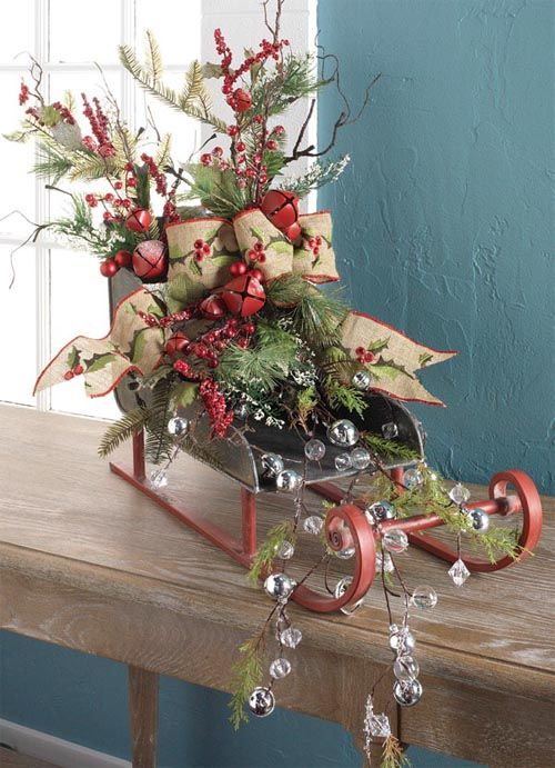 RAZ Christmas Sleigh - Trendy Tree Blog - RAZ Christmas Sleigh Natural And Natural Looking Decorations