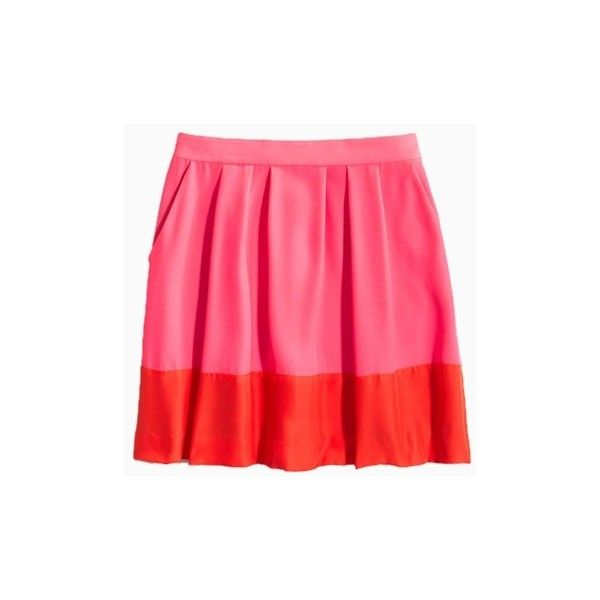Pink Contrast Pleated Skirt ($31) ❤ liked on Polyvore featuring skirts, choies, knee length pleated skirt, pink knee length skirt, pleated skirt, pink skirt and pink pleated skirt