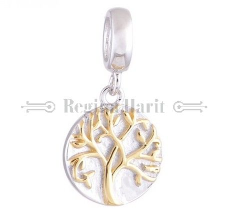 """Pendente """"tree of life"""" - árvore da vida em dois tons, berloque charm em prata maciça"""