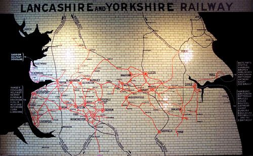 Map of the Lancashire and Yorkshire Railway, at Victoria Station in Manchester
