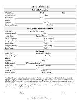 This printable patient information form can be used for intake in ...