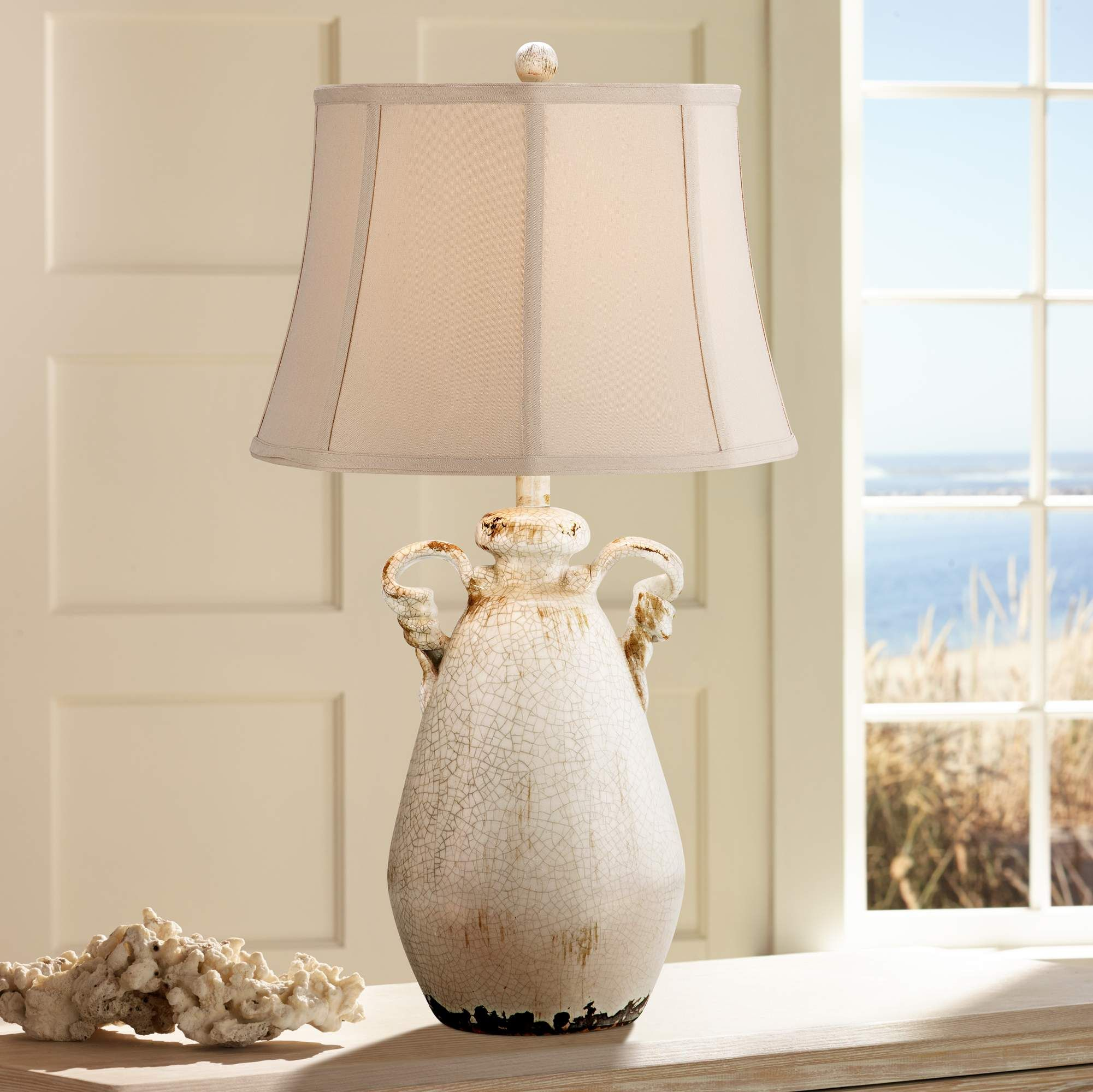 Isabella Ivory Ceramic Table Lamp By Regency Hill 2w497 Lamps Plus Table Lamps Living Room Table Lamp Coastal Bedroom Decorating