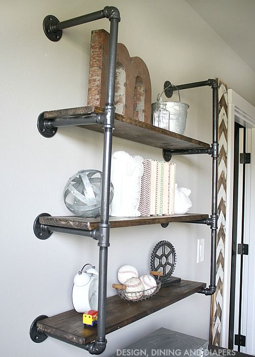 f3bf6a6e535 DIY Industrial Piping Shelves - Get the farmhouse look!