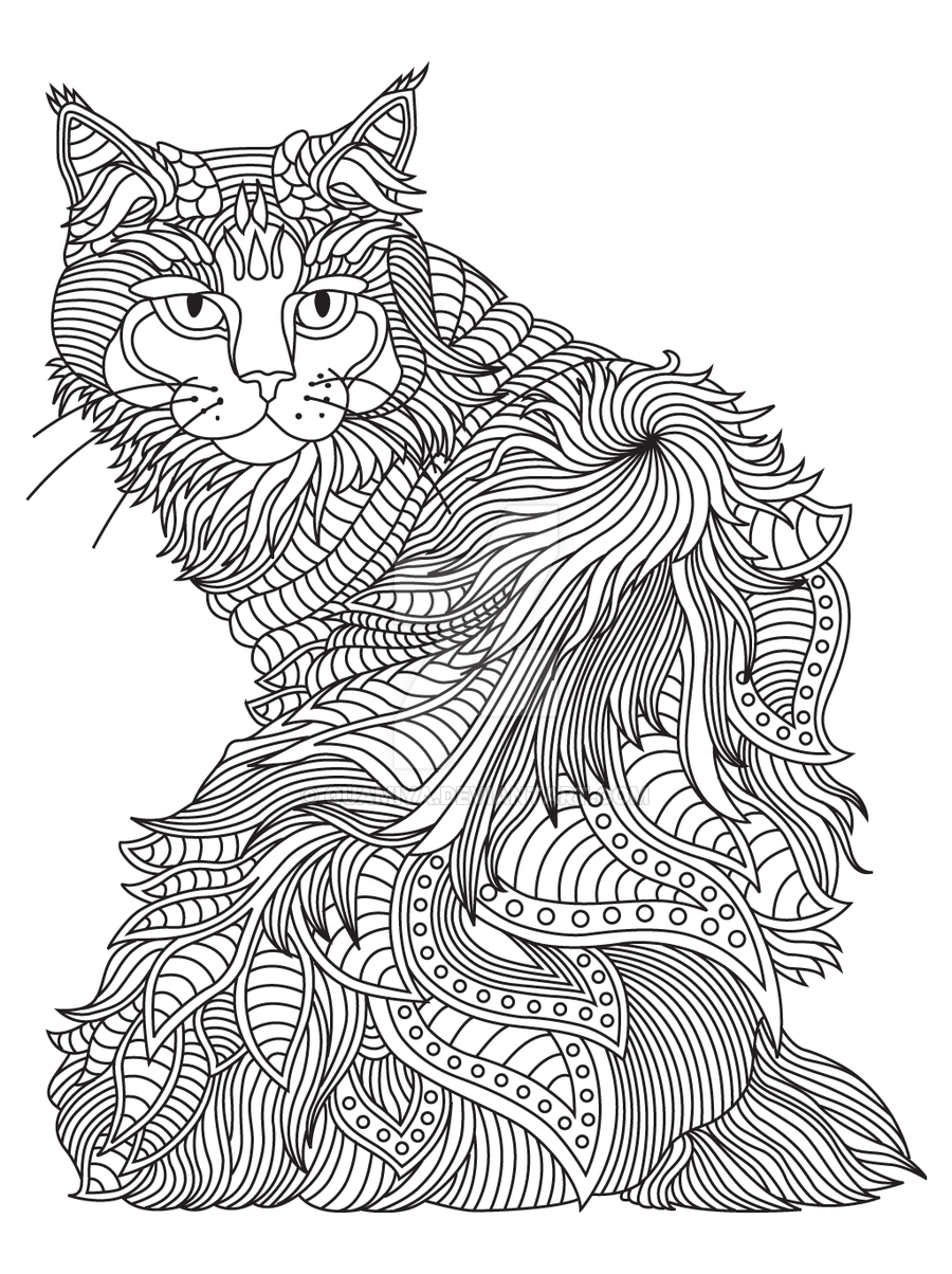 Cat Coloring Page By Quamiya Dog Coloring Page Cat Coloring Page Zentangle Animals [ 1204 x 900 Pixel ]