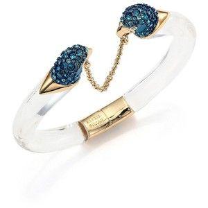 Alexis Bittar Lucite Liquid Visage Crystal Parrot Chain Cuff Bracelet