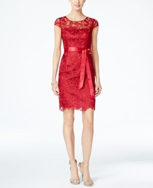 Adrianna Papell Lace Cap-Sleeve Illusion Sheath Dress - Red 12