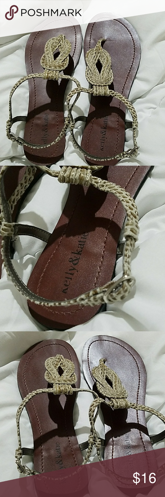 d34774a13e4e Kelly   Katie Poppy Flat Sandals size 7   Used only twice   Color Pewter. Great  sandals