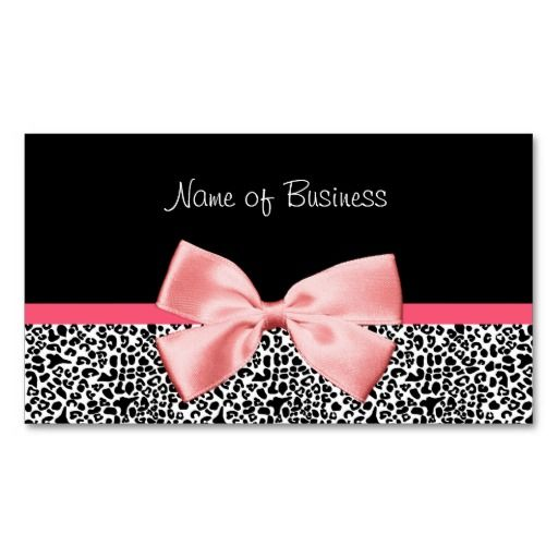 Trendy black and white leopard print pink ribbon business card trendy black and white leopard print pink ribbon business card template reheart Image collections