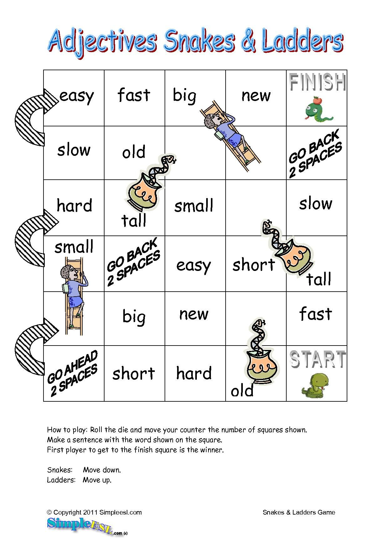 Adjectives Esl Game English Board Game Activity
