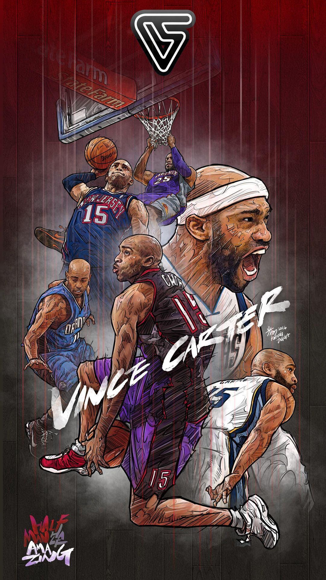 Vince Carter Forever Illustration In 2020 Nba Wallpapers Nba Basketball Art Nba Players