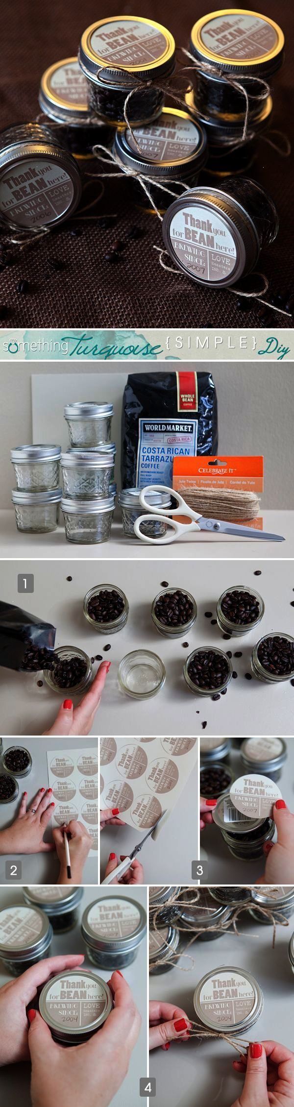 Simple diy coffee jar favors or use little plastic bags and put