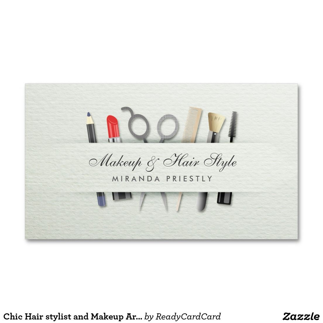 Chic Hair stylist and Makeup Artist Paper Texture Business Card ...