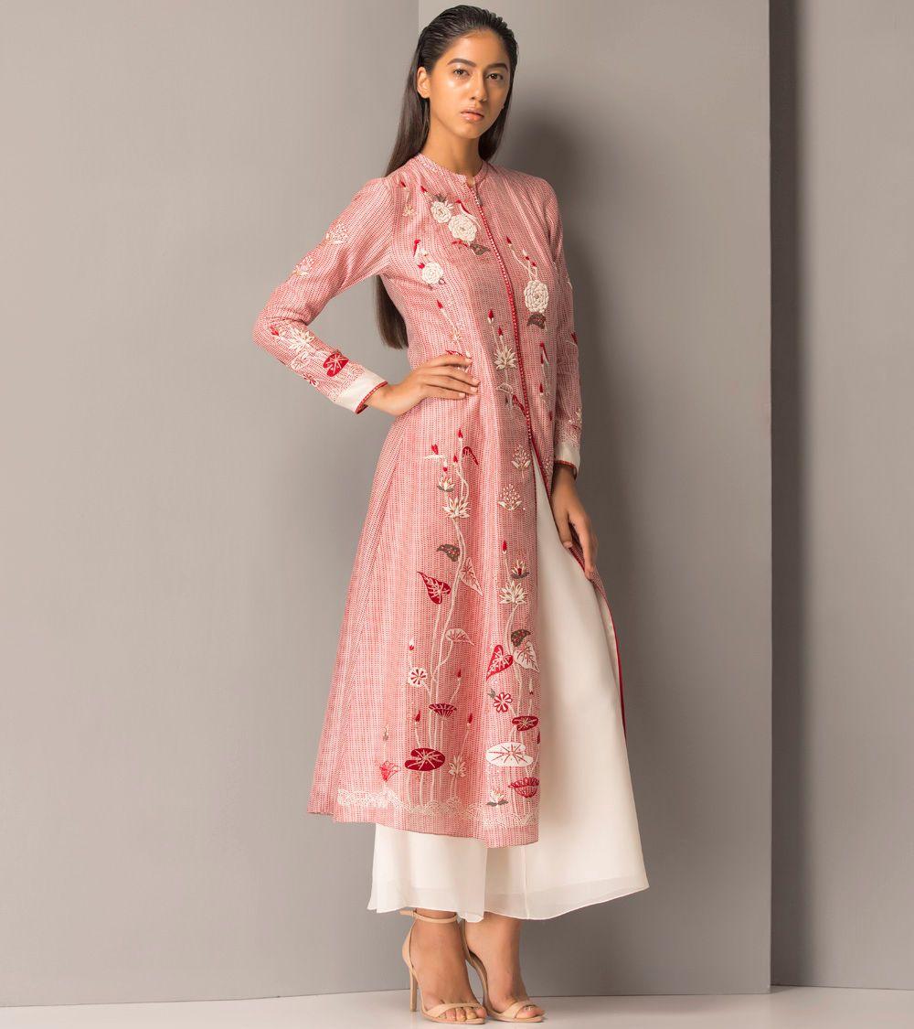 Red Chanderi #Long #Jacket | Salwar Kameez | Pinterest | Estilo ...