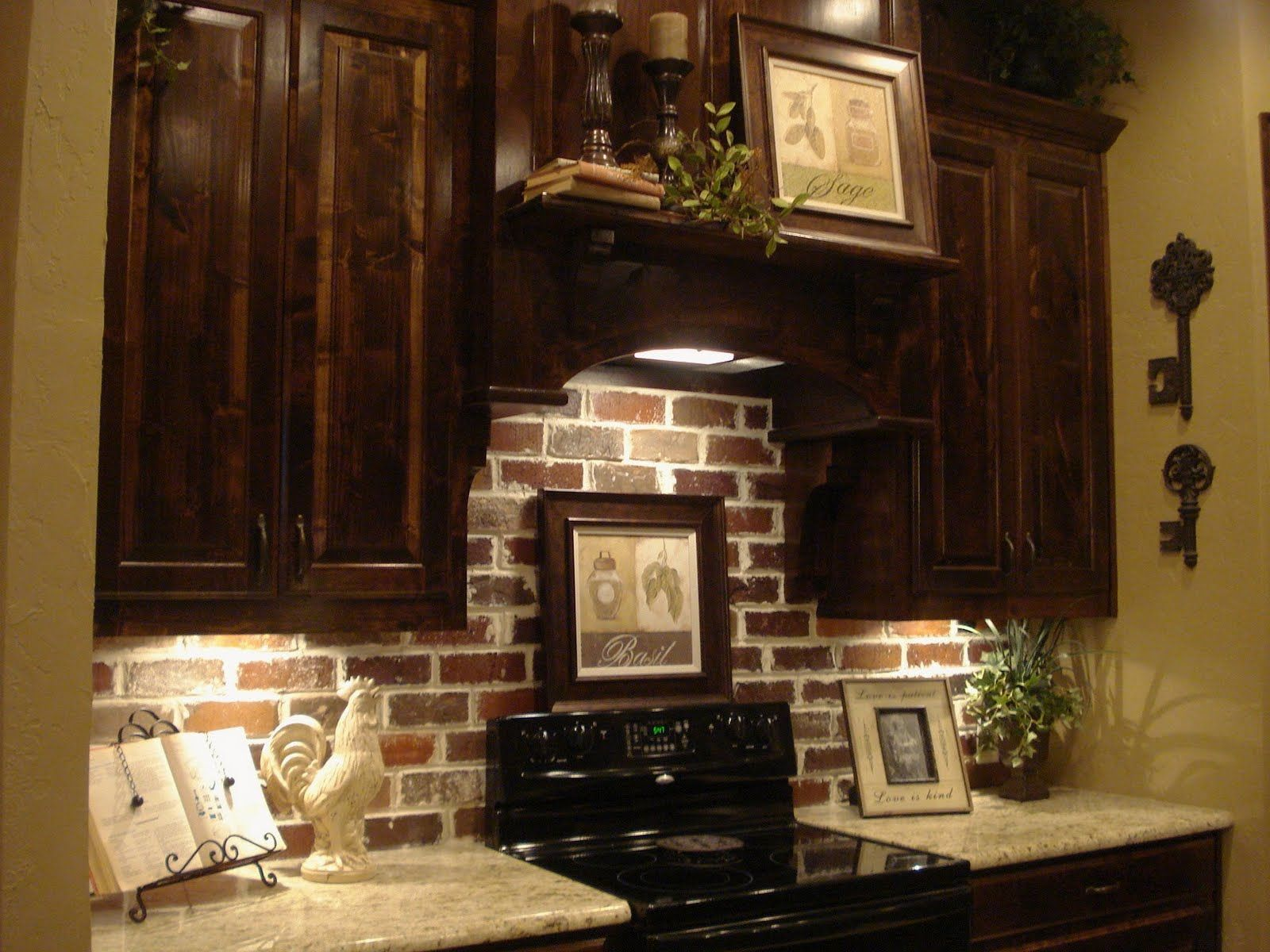 Brick backsplash dark cabinets yes future kitchen the for Kitchen units made of bricks