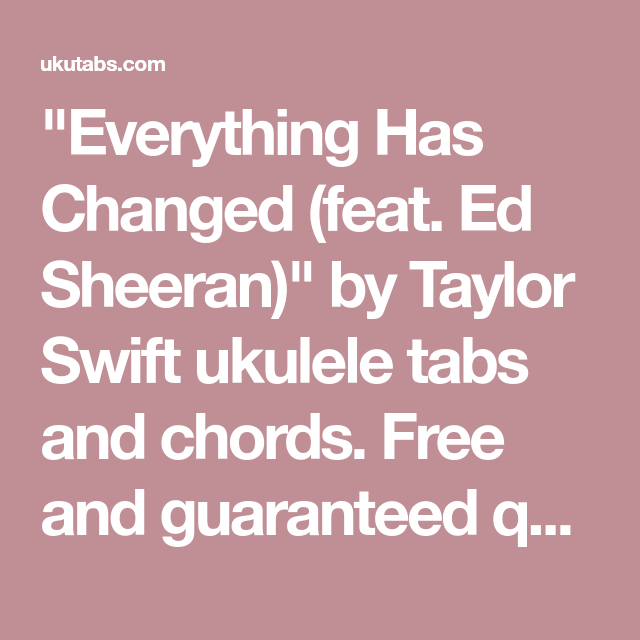 Everything Has Changed (feat. Ed Sheeran)\